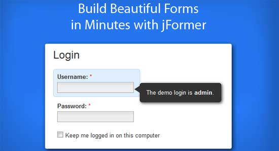 Slick jQuery Login Form for WordPress