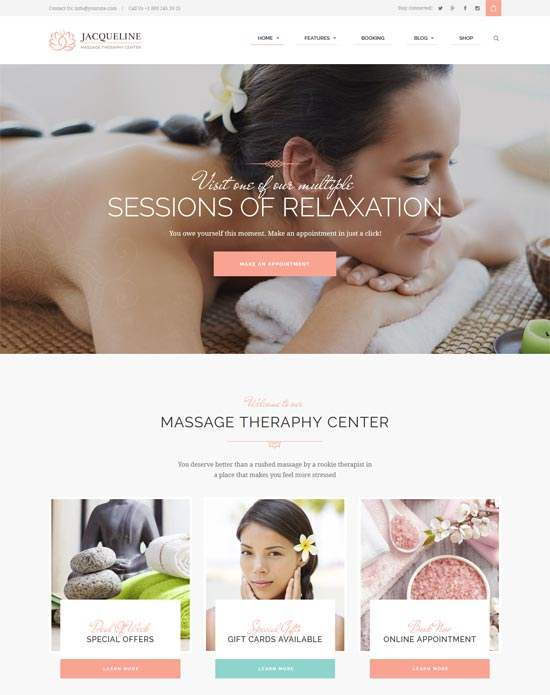 jacqueline spa massage salon site template