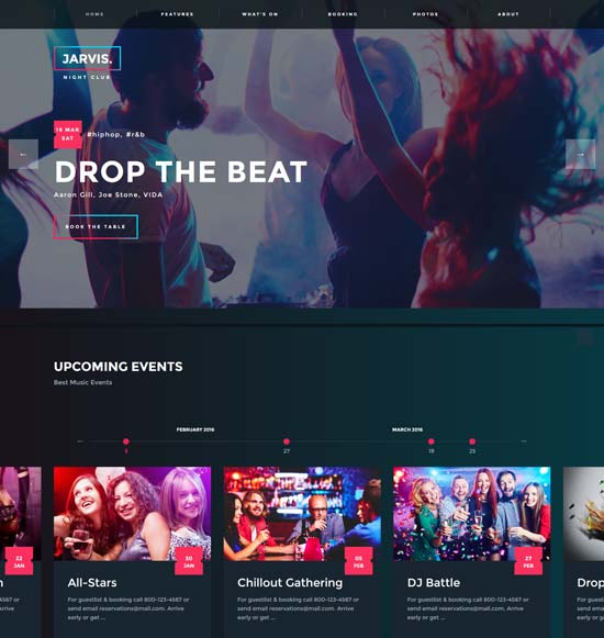 jarvis night club wp theme