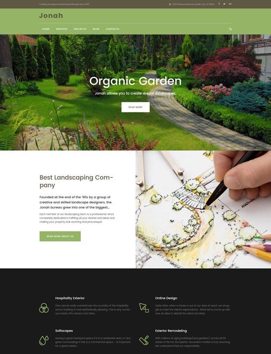 jonah landscape design wordpress theme