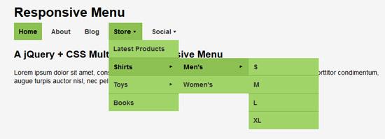 jquery css responsive menu