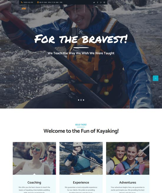 kayaking sports outdoors WordPress theme