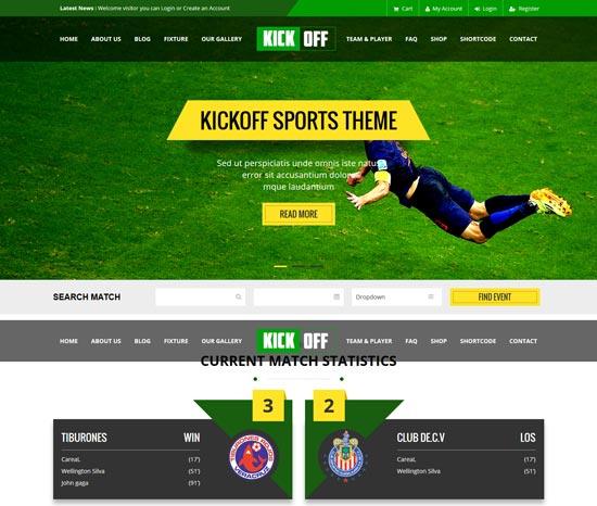 kickoff sports html theme