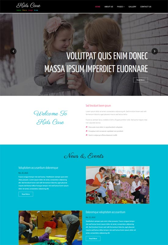 kids care responsive html5 web template