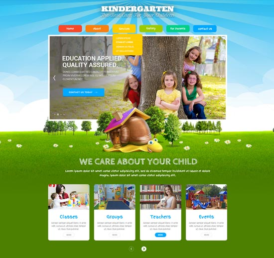 kids land bootstrap education template