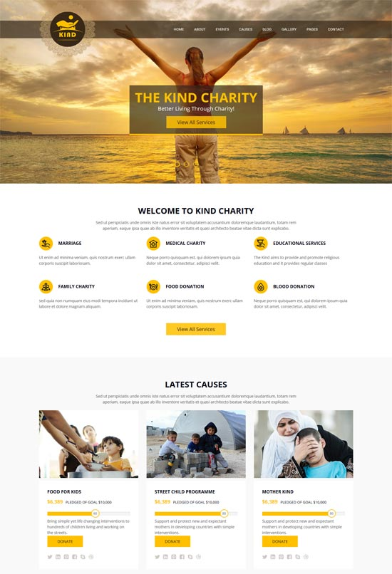 kind charity html template