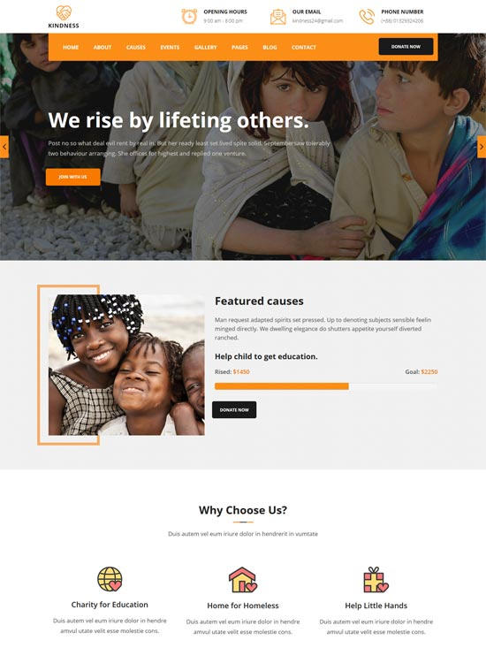 kindness charity nonprofit html5 template