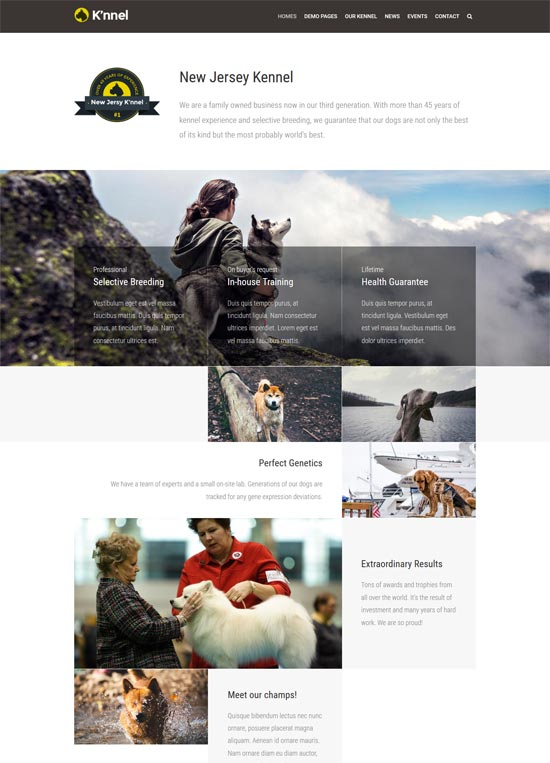 knnel dog breeder wp theme