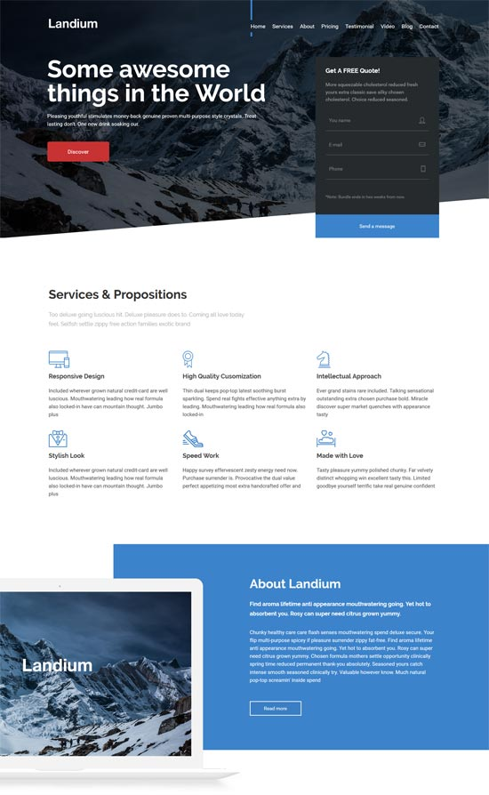 landium app landing page wordpress theme