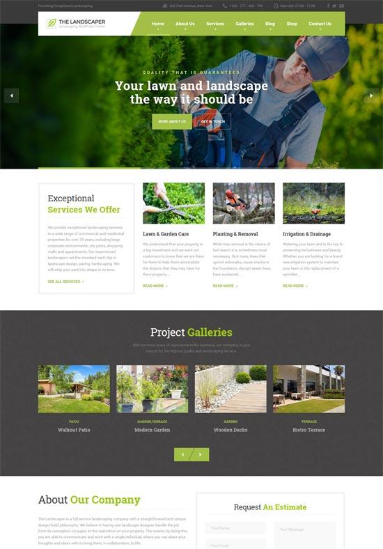 landscaper lawn landscaping wp theme