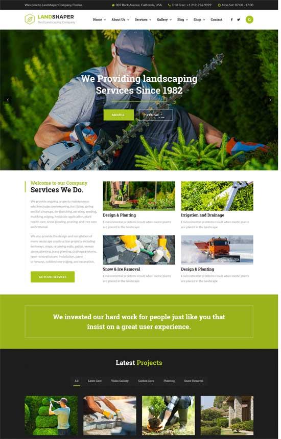 landshaper gardening landscaping wordpress theme