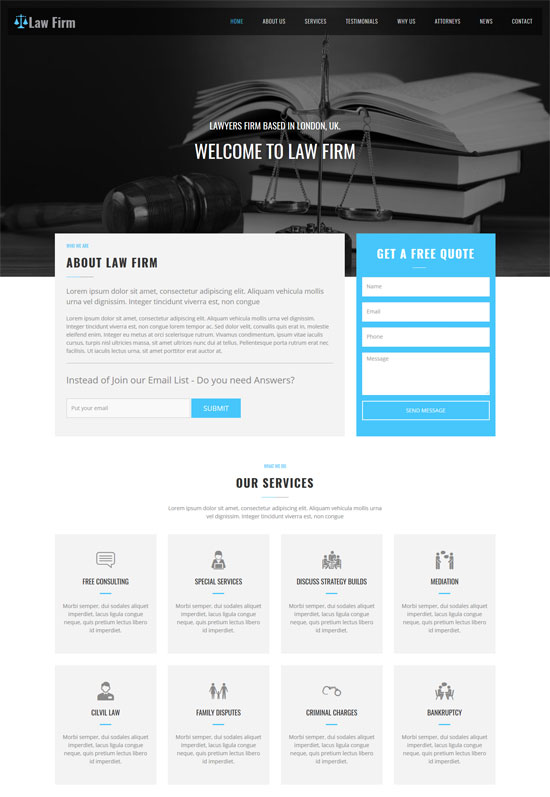 law firm one page website template