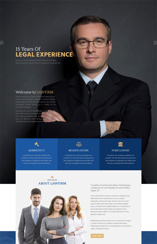 law firm single page html website