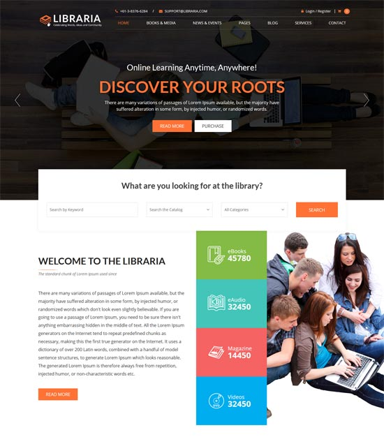 libraria online library html template