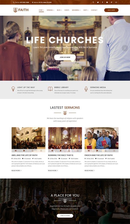 life churches events wordpress theme