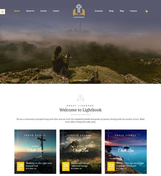 lightbook church WordPress theme