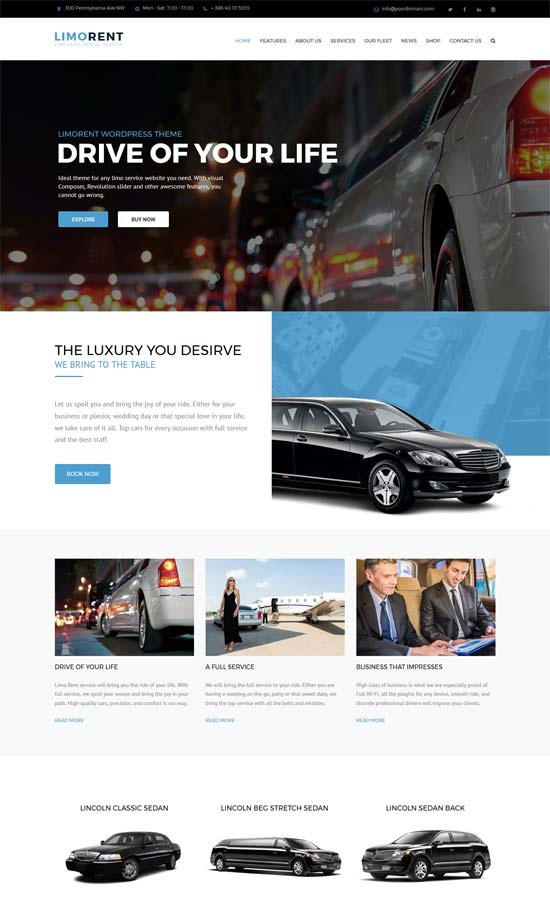 limo rent limousine car rent wordpress theme