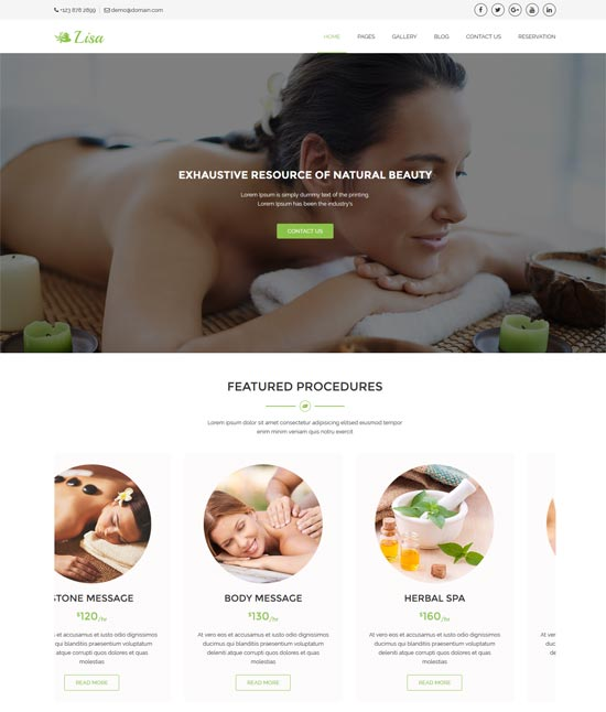 lisa wellness center beauty salon template
