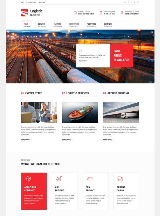 logistic business transport WordPress theme
