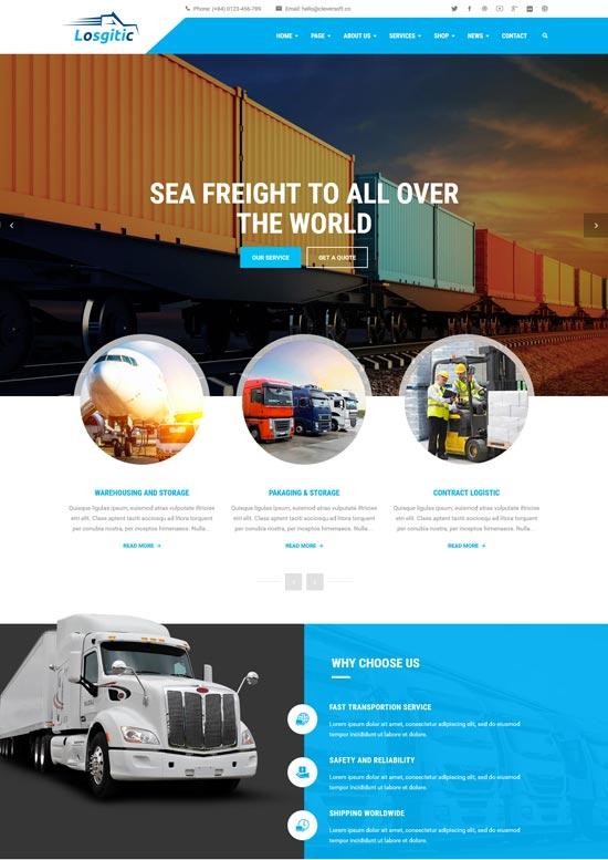 logistic warehouse transport wp theme