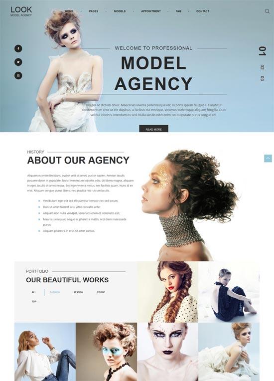 look fashion model portfolio wordpress theme