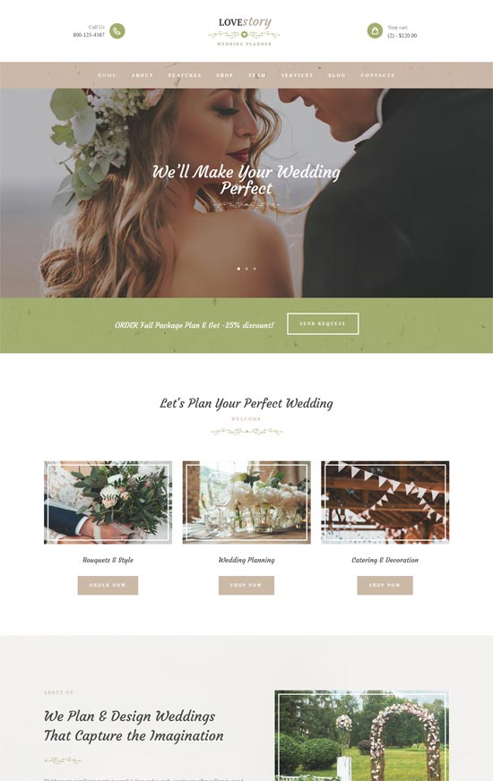 love story wedding planner site template