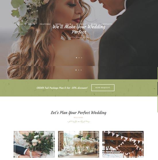 love story wedding WordPress theme