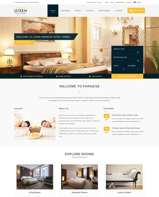 luxen hotel booking wordpress theme
