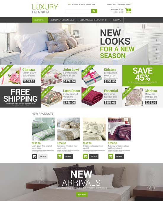 luxury linen store magento theme 52810
