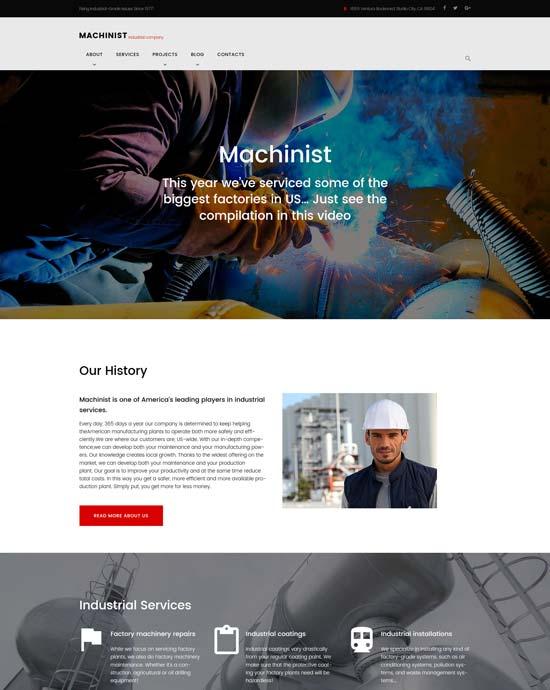 machinist industrial WordPress theme