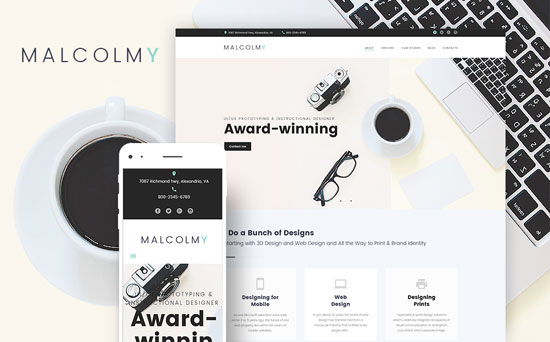 malcolmy wordpress freelance designer theme