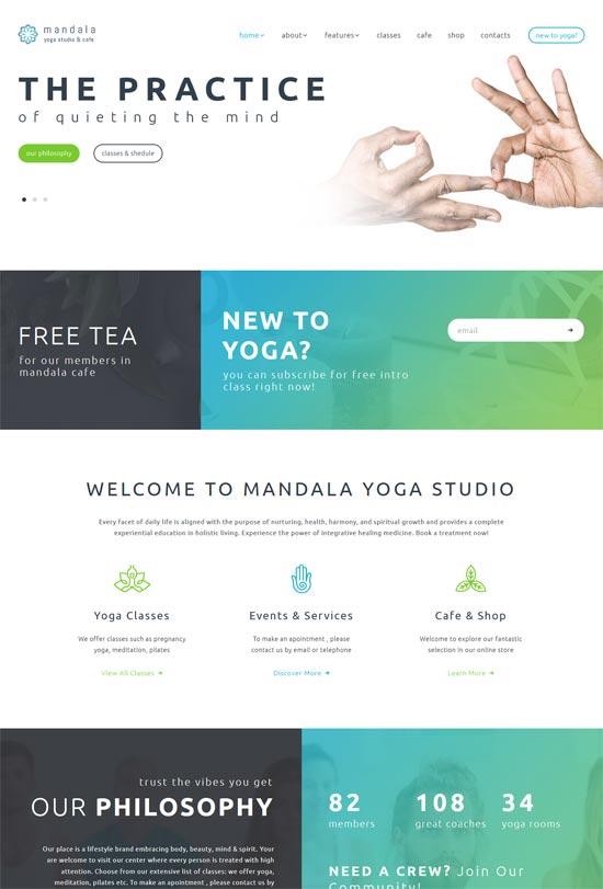 mandala yoga studio wellness center theme