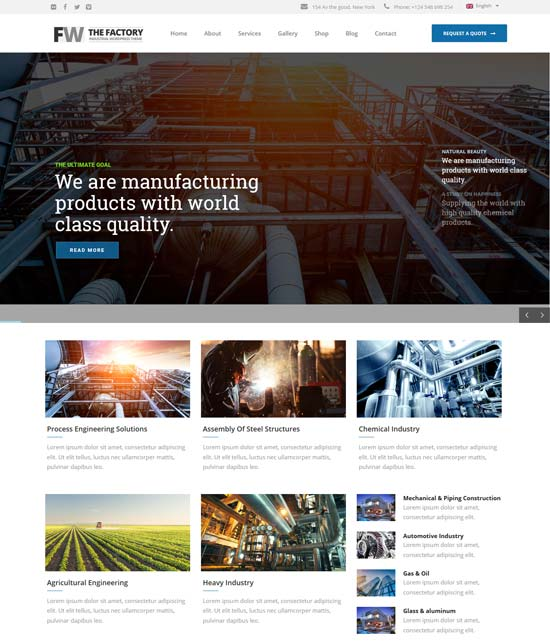 manufacturing industrial business WordPress theme