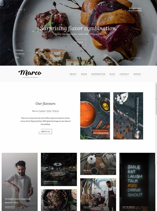 marco modern restaurant wordpress theme