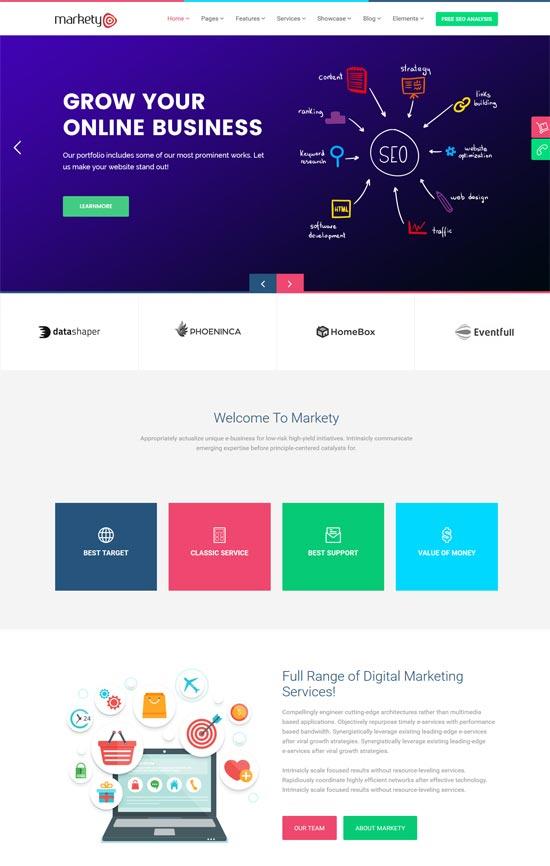 markety seo digital marketing wordpress theme