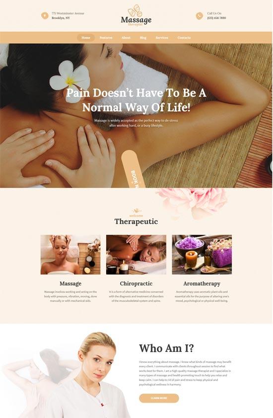 massage therapist spa salon wordpress theme