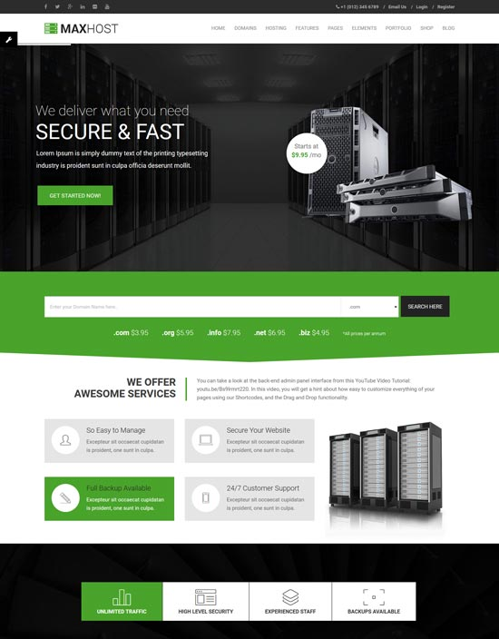 maxhost web hosting WordPress theme