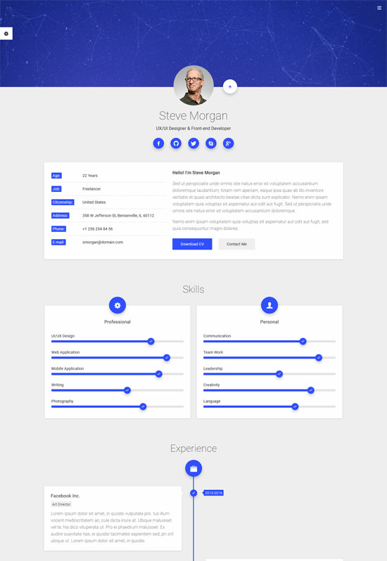 mcard cv resume personal template