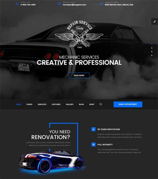 mechanic car repair html template