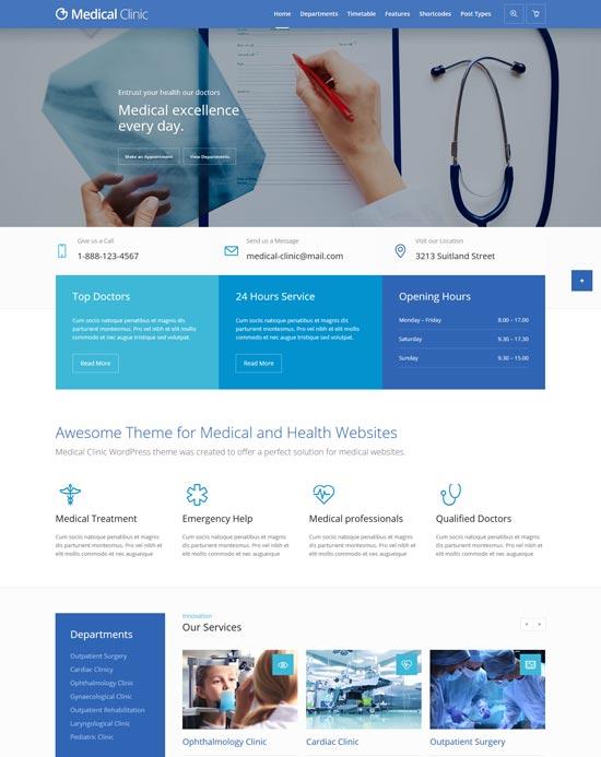 medical clinic health WordPress theme