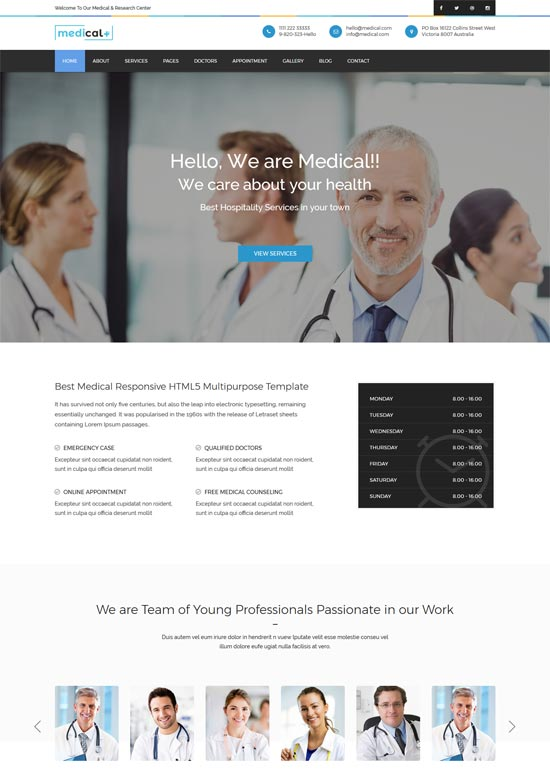 medical health care clinic html5 template