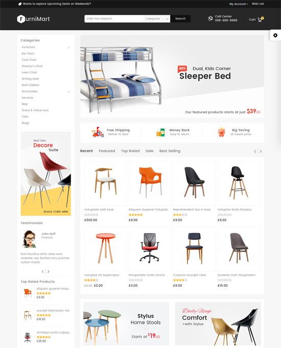 mega shop furniture responsive theme