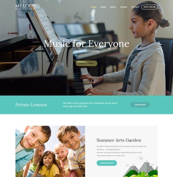 melody music school WordPress theme