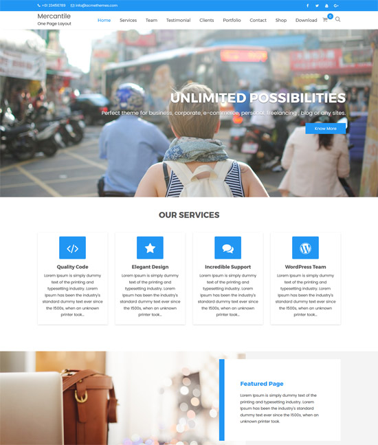 mercantile wordpress one page theme