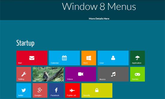 metro style windows 8 css3 menu