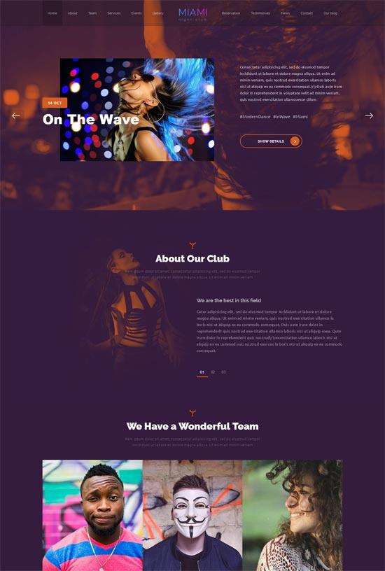miami night club responsive wordpress theme