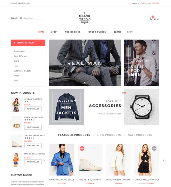 milano fashion magento theme