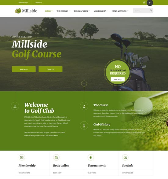 millside golf sport website template