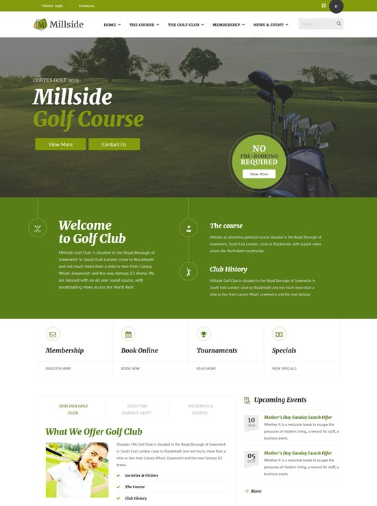 millside golf sport wordpress theme