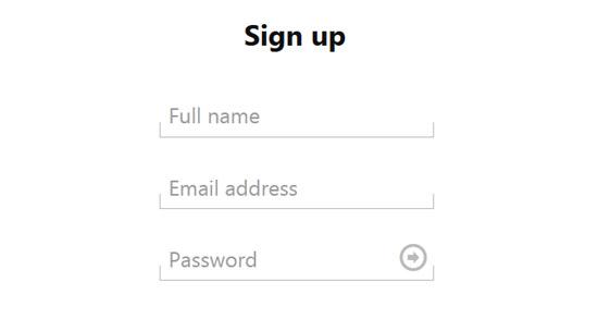 Minimal sign up form